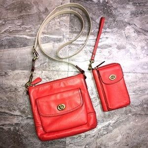 Coach Orange Leather Crossbody & Wristlet Set
